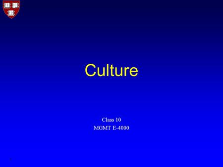 1 Culture Class 10 MGMT E-4000. 2 Organizational culture The system of shared actions, values, and beliefs that develops within an organization and guides.