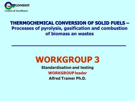Centre of Excellence THERMOCHEMICAL CONVERSION OF SOLID FUELS – THERMOCHEMICAL CONVERSION OF SOLID FUELS – Processes of pyrolysis, gasification and combustion.