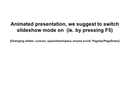 Animated presentation, we suggest to switch slideshow mode on (ie. by pressing F5) [Changing slides: cursors, space/backspace, mouse scroll, PageUp/PageDown]