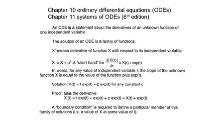 Chapter 10 ordinary differential equations (ODEs) Chapter 11 systems of ODEs (6 th edition)