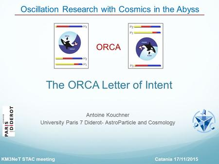 The ORCA Letter of Intent Oscillation Research with Cosmics in the Abyss ORCA Antoine Kouchner University Paris 7 Diderot- AstroParticle and Cosmology.