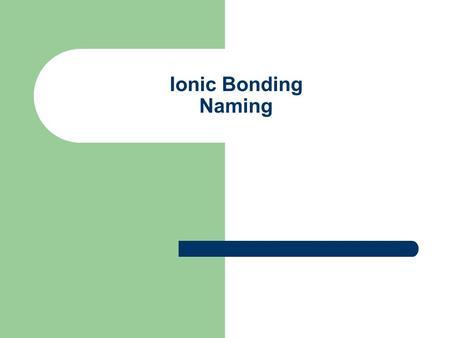 how to write names for ionic bondings