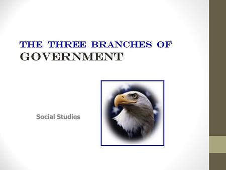 THE THREE BRANCHES OF GOVERNMENT Social Studies United states government The Constitution created a government of three equal branches, or parts. The.