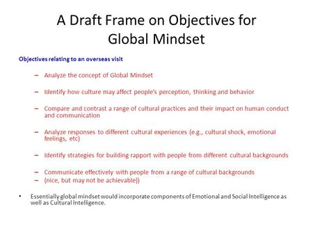 A Draft Frame on Objectives for Global Mindset Objectives relating to an overseas visit – Analyze the concept of Global Mindset – Identify how culture.