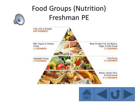 Food Groups (Nutrition) Freshman PE Grains Examples: Pasta, bread, rice, cereal. Benefits: Grains are full of B vitamins (thiamin, riboflavin, and niacin)