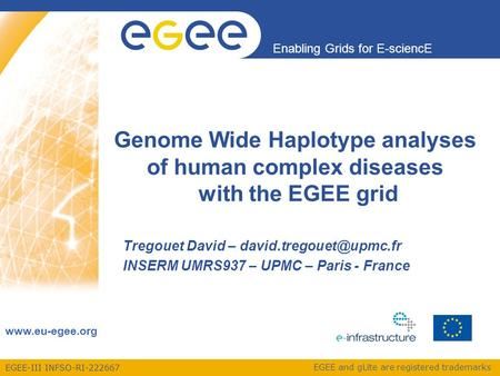 EGEE-III INFSO-RI-222667 Enabling Grids for E-sciencE www.eu-egee.org EGEE and gLite are registered trademarks Genome Wide Haplotype analyses of human.