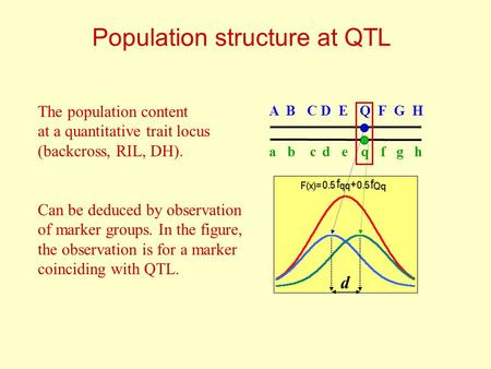 Population structure at QTL d A B C D E Q F G H a b c d e q f g h The population content at a quantitative trait locus (backcross, RIL, DH). Can be deduced.