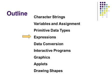 Outline Character Strings Variables and Assignment Primitive Data Types Expressions Data Conversion Interactive Programs Graphics Applets Drawing Shapes.