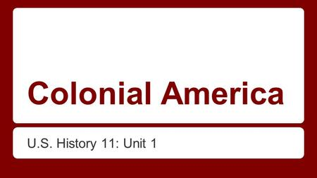 Colonial America U.S. History 11: Unit 1. Can you name the 13 Colonies?