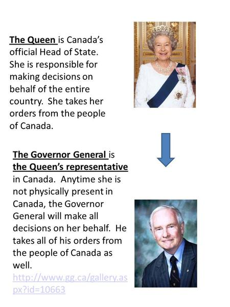 The Queen is Canada's official Head of State. She is responsible for making decisions on behalf of the entire country. She takes her orders from the people.