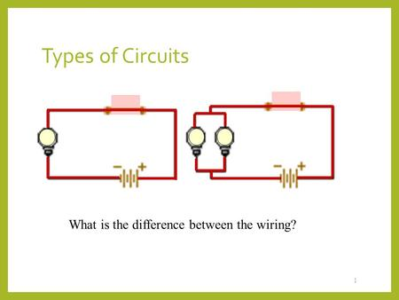 Types of Circuits 1 What is the difference between the wiring?