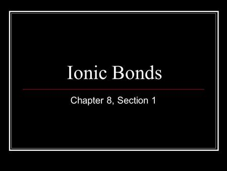 Ionic Bonds Chapter 8, Section 1. Vocabulary Anion Cation Chemical bon Formula unit Ionic bond Lattice energy Monatomic ion Oxidation number Polyatomic.
