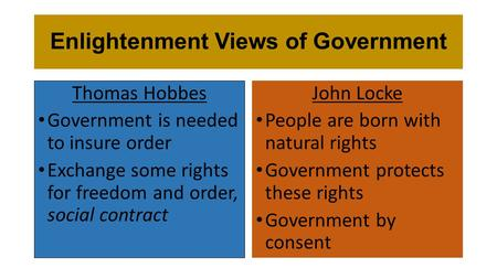 Enlightenment Views of Government John Locke People are born with natural rights Government protects these rights Government by consent Thomas Hobbes Government.