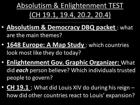 absolutism essay 9 Mr kramer's webpage‎ ‎ unit 2: age of absolutism day 1: 9/8/2014 students took the absolutism essay day 24: 10/10/2014 students took the absolutism test.