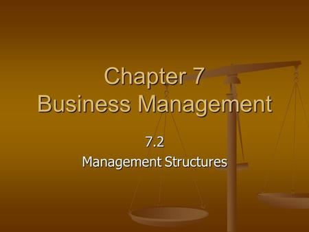 Chapter 7 Business Management 7.2 Management Structures.
