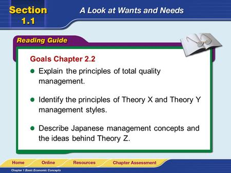 Goals Chapter 2.2 Explain the principles of total quality management. Identify the principles of Theory X and Theory Y management styles. Describe Japanese.