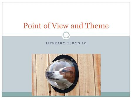 LITERARY TERMS IV Point of View and Theme. POINT OF VIEW An automobile accident occurs. Two drivers are involved. Witnesses include four sidewalk spectators,