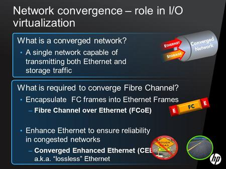 Network convergence – role in I/O virtualization What is a converged network? A single network capable of transmitting both Ethernet and storage traffic.
