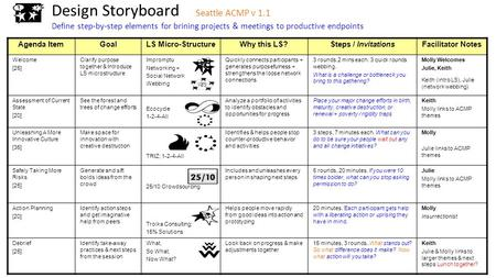 Design Storyboard Seattle ACMP v 1.1 Define step-by-step elements for brining projects & meetings to productive endpoints Agenda ItemGoalLS Micro-StructureWhy.