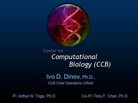 AWT Ivo D. Dinov, Ph.D., CCB Chief Operations Officer PI: Arthur W. Toga, Ph.D. Co-PI: Tony F. Chan, Ph.D.