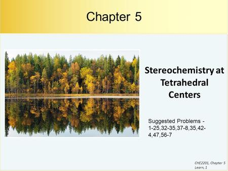 CHE2201, Chapter 5 Learn, 1 Stereochemistry at Tetrahedral Centers Chapter 5 Suggested Problems - 1-25,32-35,37-8,35,42- 4,47,56-7.