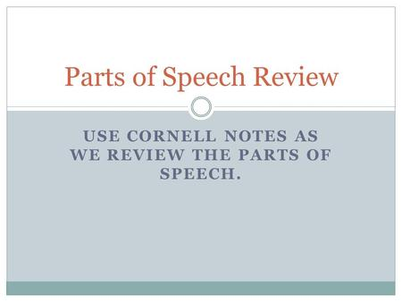 USE CORNELL NOTES AS WE REVIEW THE PARTS OF SPEECH. Parts of Speech Review.
