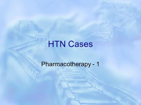 HTN Cases Pharmacotherapy - 1. Case 1 TJ is a 45-year-old woman with a history of type 2 diabetes mellitus treated with glyburide 5 mg/ day. She.