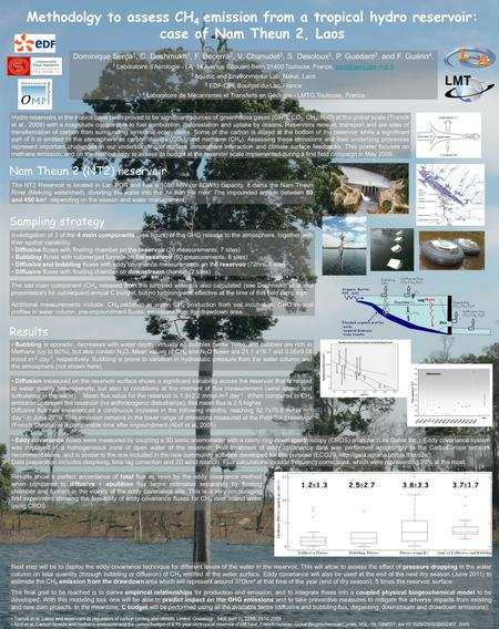 Methodolgy to assess CH 4 emission from a tropical hydro reservoir: case of Nam Theun 2, Laos Dominique Serça 1, C. Deshmukh 1, F. Becerra 2, V. Chanudet.