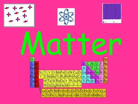Matter. Stuff that objects are made of Anything that has mass and volume 3 Types –Elements –Compounds –Mixtures.