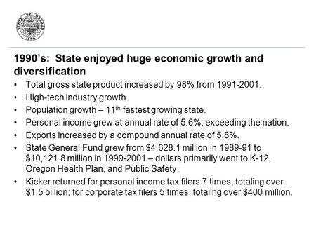 1990's: State enjoyed huge economic growth and diversification Total gross state product increased by 98% from 1991-2001. High-tech industry growth. Population.