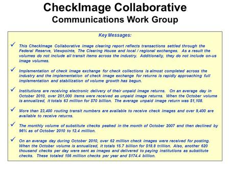 Key Messages: This CheckImage Collaborative image clearing report reflects transactions settled through the Federal Reserve, Viewpointe, The Clearing House.