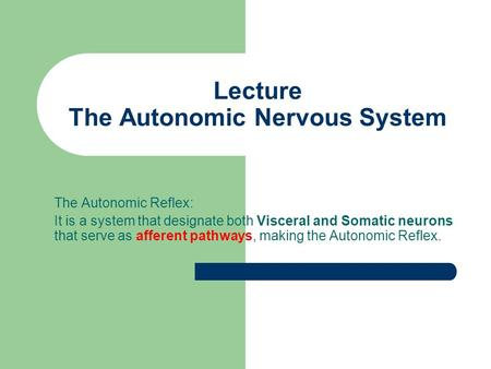 Lecture The Autonomic Nervous System
