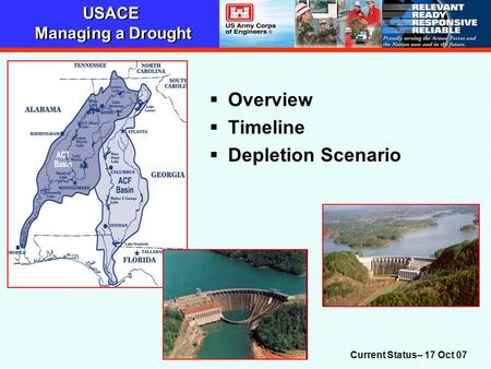 USACE Managing a Drought  Overview  Timeline  Depletion Scenario Current Status– 17 Oct 07.