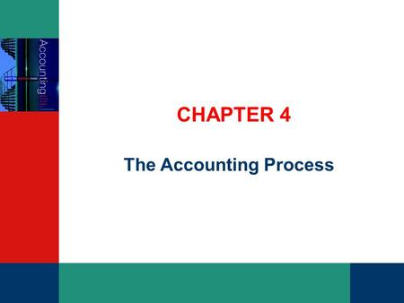 CHAPTER 4 The Accounting Process. PowerPoint Slides t/a Accounting: What the Numbers Mean Marshall, McCartney, van Rhyn, McManus, Viele Slides prepared.