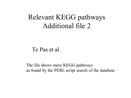 Relevant KEGG pathways Additional file 2 Te Pas et al. The file shows more KEGG pathways as found by the PERL script search of the database.