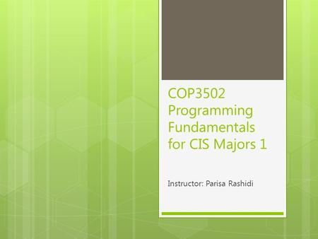 COP3502 Programming Fundamentals for CIS Majors 1 Instructor: Parisa Rashidi.