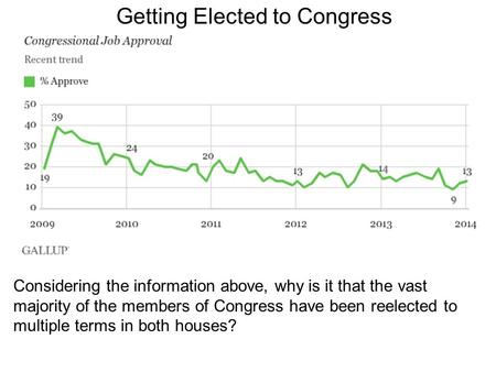Getting Elected to Congress Considering the information above, why is it that the vast majority of the members of Congress have been reelected to multiple.