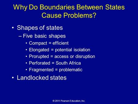 © 2011 Pearson Education, Inc. Why Do Boundaries Between States Cause Problems? Shapes of states –Five basic shapes Compact = efficient Elongated = potential.
