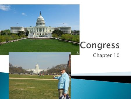 Chapter 10.  Congress makes laws  Bicameral – made up of two houses, the House of Representatives and the Senate  Gives fair representation to both.