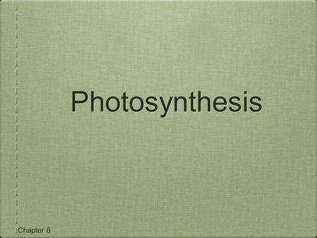 Chapter 6 Photosynthesis. Capturing Light Energy All energy needed by living things comes directly or indirectly from the Sun Energy moves through organisms.