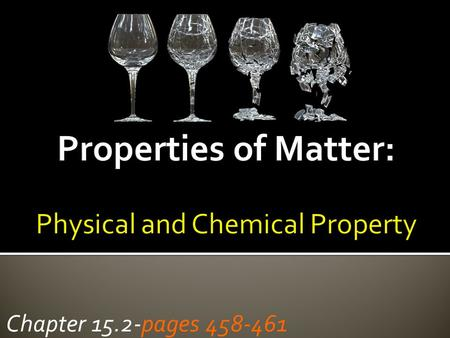 Chapter 15.2-pages 458-461. What is the composition of matter? Matter Pure Matter Substance Impure Matter Mixture only 1 set of chemical and physical.