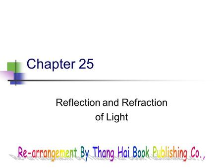 Chapter 25 <strong>Reflection</strong> and Refraction of Light 2 Fig. 25-CO, p. 839.