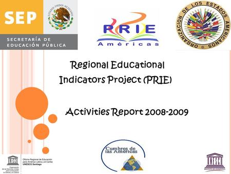 Regional Educational Indicators Project (PRIE) Activities Report 2008-2009.