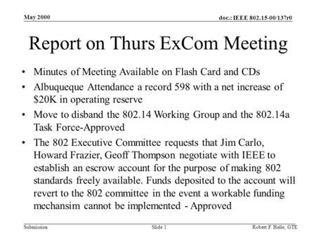 Doc.: IEEE 802.15-00/137r0 Submission May 2000 Robert F. Heile, GTESlide 1 Report on Thurs ExCom Meeting Minutes of Meeting Available on Flash Card and.