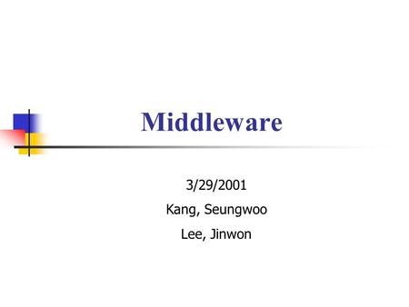 Middleware 3/29/2001 Kang, Seungwoo Lee, Jinwon. Description of Topics 1. CGI, Servlets, JSPs 2. Sessions/Cookies 3. Database Connection(JDBC, Connection.