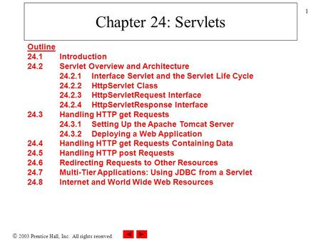  2003 Prentice Hall, Inc. All rights reserved. 1 Chapter 24: Servlets Outline 24.1 Introduction 24.2 Servlet Overview and Architecture 24.2.1 Interface.