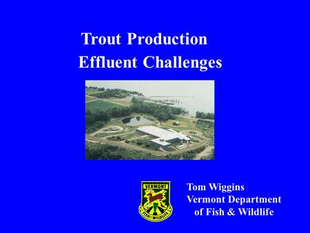 Trout Production Effluent Challenges Tom Wiggins Vermont Department of Fish & Wildlife.