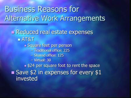 Business Reasons for Alternative Work Arrangements Reduced real estate expenses Reduced real estate expenses AT&T AT&T Square feet per person Square feet.