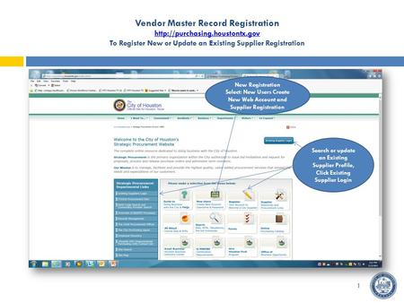 Vendor Master Record Registration  To Register New or Update an Existing Supplier Registration