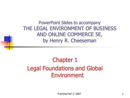 Chapter 1 Legal Foundations and Global Environment
